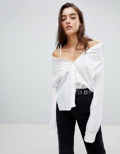 Рубашка-трансформер с декоративной строчкой Noisy May - Белый