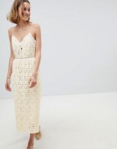 Платье кроше на бретельках BA&SH - Кремовый