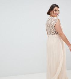 Платье макси с кружевной вставкой Little Mistress Plus - Кремовый