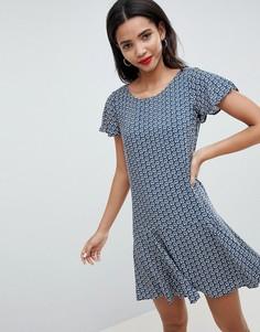 Чайное платье с цветочным принтом Esprit - Темно-синий