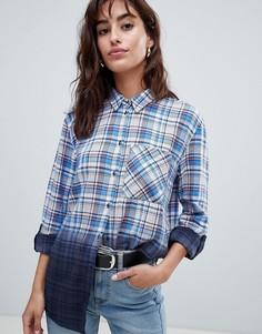 Рубашка в клетку с эффектом омбре Esprit - Синий