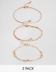 Набор из 3 золотистых браслетов ASOS DESIGN - Золотой
