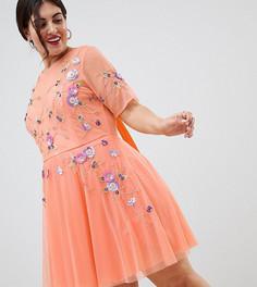 Короткое премиум-платье с открытой спиной и тюлевой отделкой ASOS DESIGN Curve - Оранжевый