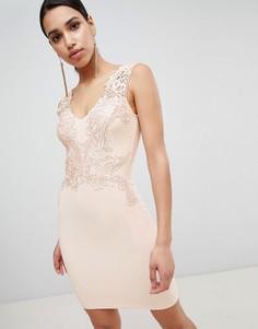 Облегающее платье с кружевной отделкой и глубоким вырезом Lipsy - Розовый