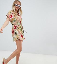 Платье-рубашка с цветочным принтом Missguided Petite - Кремовый
