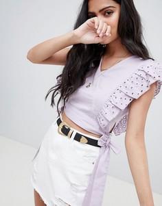 Кроп-топ с вышивкой ришелье и завязками на талии Glamorous - Фиолетовый