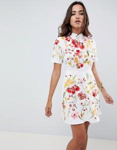 Премиум-платье мини с вышивкой ASOS DESIGN - Кремовый