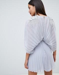 Платье-кимоно миди с кластерной отделкой на плечах ASOS DESIGN - Синий