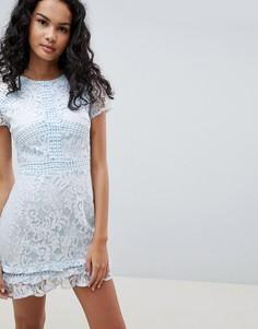Кружевное короткое приталенное платье с высоким воротом и короткими рукавами Parisian - Синий