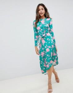 Платье миди с принтом и присборенной талией ASOS DESIGN - Мульти