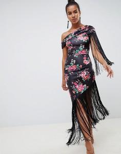 Платье миди с бахромой и цветочным принтом ASOS DESIGN - Мульти