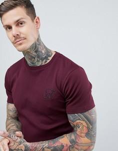 Бордовая обтягивающая асимметричная футболка в рубчик Ascend - Красный
