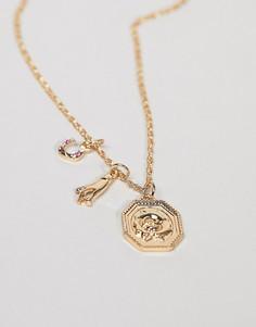 Ожерелье с цепочкой и 3 сменными золотистыми подвесками в винтажном стиле ASOS DESIGN - Золотой