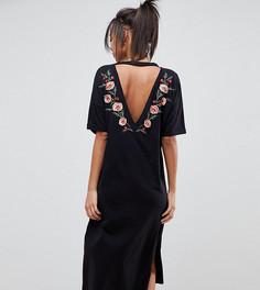 Платье-футболка миди с вышивкой на спине ASOS DESIGN Tall - Черный