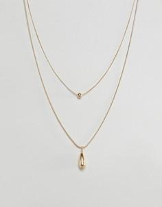 Золотистое ожерелье в несколько рядов с шаром и каплевидной подвеской ASOS DESIGN - Золотой