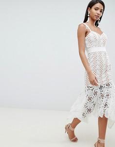 Ажурное платье миди телесного цвета Jarlo - Белый