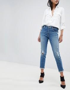 Узкие джинсы с завышенной талией и потертостями Diesel - Синий