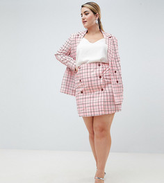 Розовая двубортная мини-юбка в клетку с завышенной талией Unique 21 hero plus - Розовый