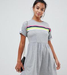 Свободное платье мини с разноцветной отделкой ASOS DESIGN Petite - Серый