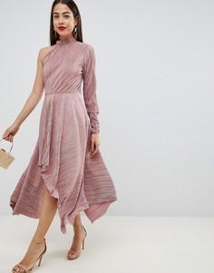 Асимметричное плиссированное платье с одним рукавом ASOS DESIGN - Розовый