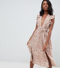 b5cb5ab1e6188d8 Платье миди в горошек с рукавами-оборками Glamorous Tall - Коричневый