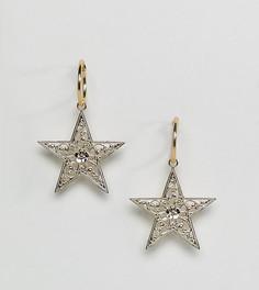 Позолоченные серьги-кольца с подвесками-звездами Rock N Rose - Золотой