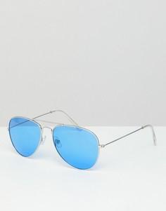 Солнцезащитные очки-авиаторы с голубыми стеклами Jeepers Peepers - Серебряный