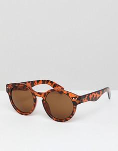 Солнцезащитные очки в круглой черепаховой оправе Jeepers Peepers - Коричневый