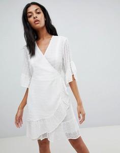 Платье мини с запахом AllSaints - Белый