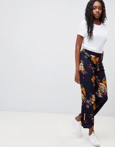 Широкие брюки с цветочным принтом JDY - Темно-синий