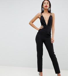 Комбинезон с глубоким вырезом и широкими штанинами ASOS DESIGN Tall - Черный