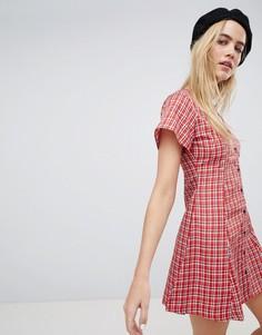 Короткое приталенное платье в клетку Daisy Street - Красный