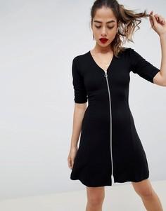 Чайное платье мини на молнии ASOS DESIGN - Черный