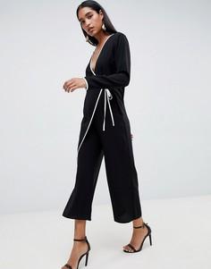 Комбинезон-кимоно с окантовкой ASOS DESIGN - Черный