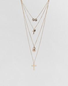 Ожерелье с монетой и крестом New Look - Золотой