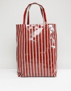 Виниловая полосатая сумка ограниченной серии Weekday - Красный
