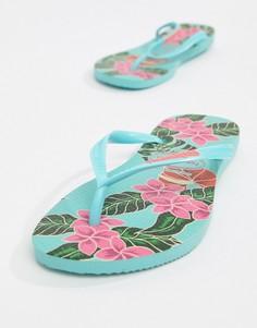 Тонкие шлепанцы с цветочным принтом Havaianas - Синий