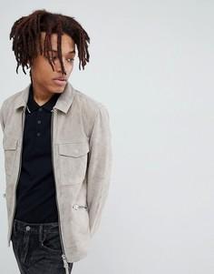 Серая байкерская куртка из замши AllSaints - Серый