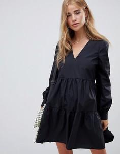 Свободное хлопковое платье мини с длинными рукавами ASOS DESIGN - Черный