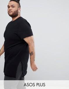 Удлиненная футболка с разрезами по бокам ASOS DESIGN Plus - Черный