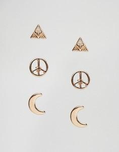 3 пары сережек-гвоздиков Nylon - Золотой