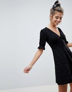 Чайное платье мини на пуговицах с вышивкой ришелье ASOS DESIGN - Черный