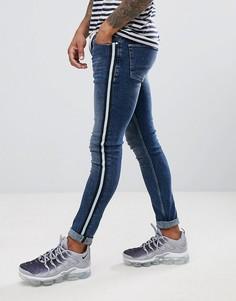 Темно-синие джинсы скинни с полосками по бокам ASOS DESIGN - Синий
