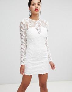 Облегающее платье с пайетками Rare - Белый