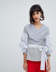 Блузка в контрастную полоску с присборенными рукавами In Wear Sami - Синий