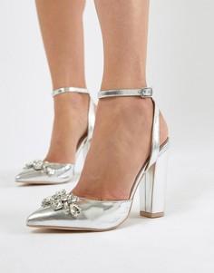 Серебристые туфли на блочном каблуке с отделкой True Decadence - Серебряный