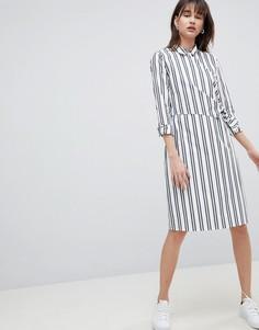 Платье-рубашка в полоску с запахом Selected Femme - Мульти