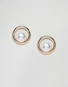 Серьги с искусственным жемчугом DesignB London - Золотой