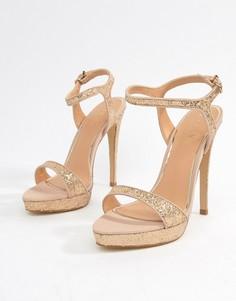 Босоножки на каблуке с блестками Lipsy - Золотой