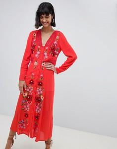 Платье макси с вышивкой ASOS DESIGN - Красный
